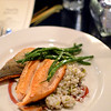 Seared ruby red trout with leek & mushroom barley pilaf, haricot vert, red wine vinaigrette