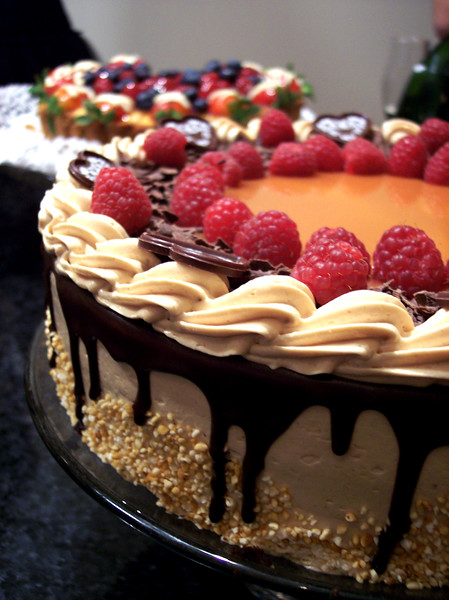 Caramel Chocolate Raspberry Torte