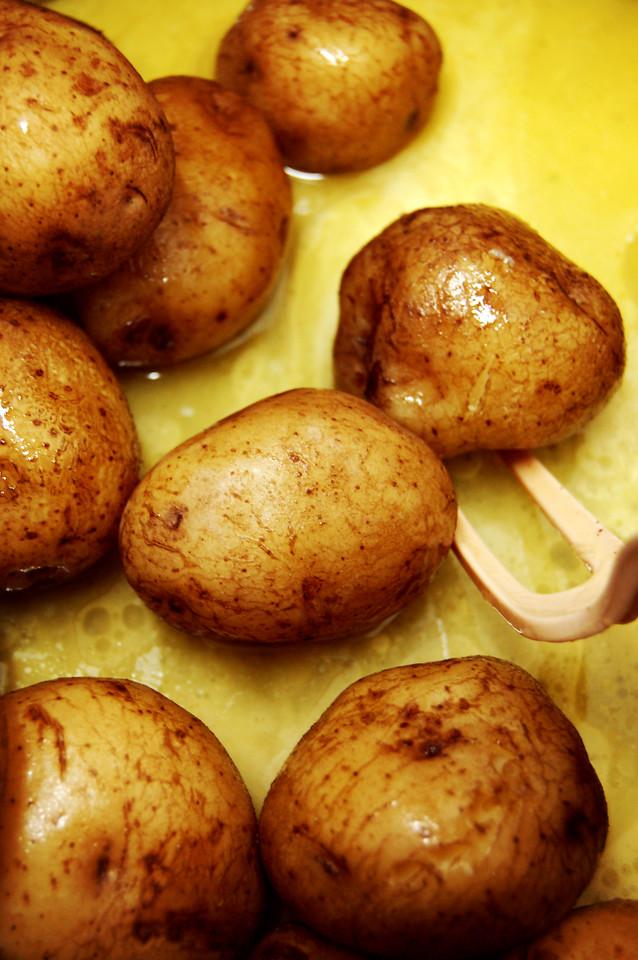 Salt Potatoes soaking in butter