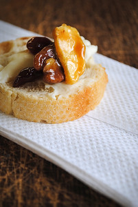 Brie, bread, caramel & nuts