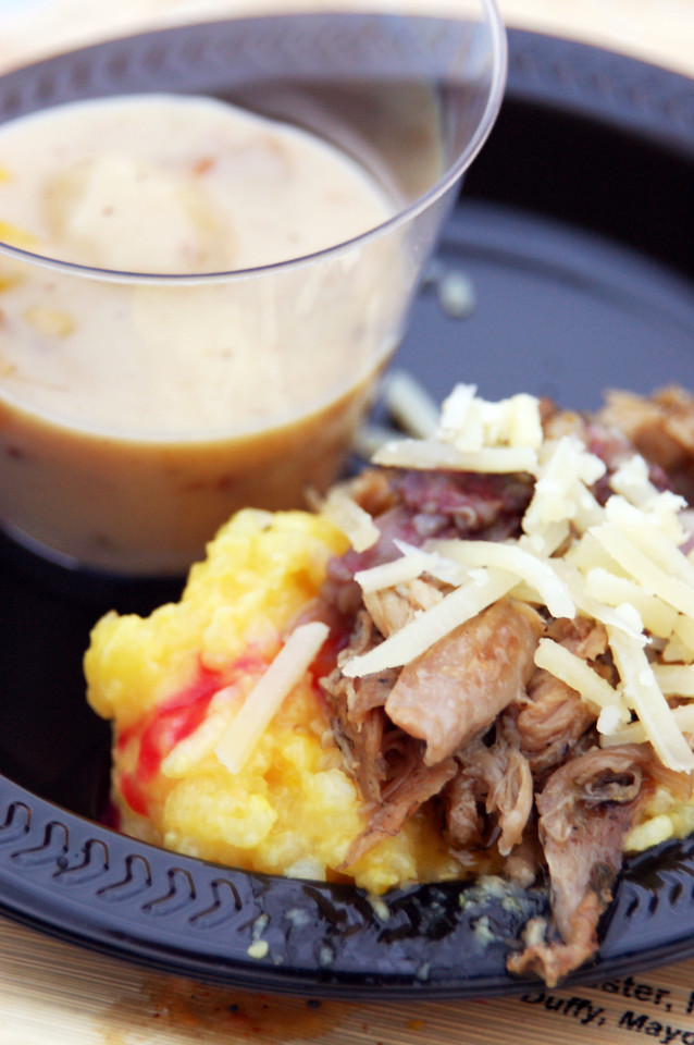 Smashed Couscous and Duck Confit, with Apple-Corn Chowder