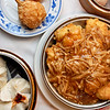 Dim sum and fried bean curd with golden mushrooms.  <b>Cantonese House</b> 3159 South Winton Road