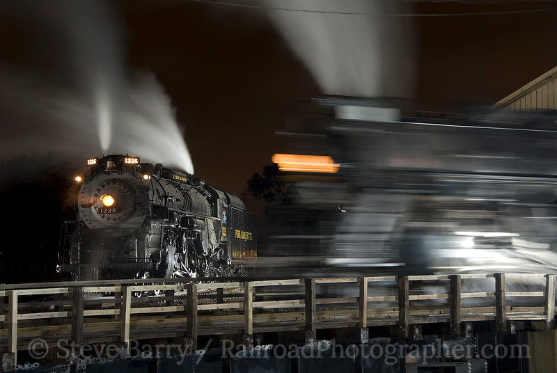 Photo 1614<br /> Pere Marquette 1225 and Nickel Plate Road 765; Owosso, Michigan<br /> August 28, 2009