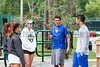 04/18/2014 - Altamonte Springs, Florida - Barron Collier HS Tennis Team Members  Allen Sweet and Paul Johnson talk to Naples High School Tennis Team Members Nikki Kallenberg, Letizia Atzeni and Miranda Mearsheimer while courts where drying from misting rain early Friday Morning.