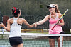 04/18/2014 - Altamonte Springs ,Florida - Naples High Schools Nikki Kallenberg receives congratulations from her State Singles match opponent Creekside Highs Maria Ruiz after wining. Nikki won the match in straight sets 6-2, 6-1 with about an hour interruption for damp courts..