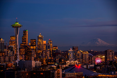 Seattle Skyline Dusk from Kerry Park
