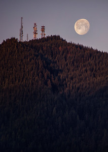 Moon Setting Sun Rising Rattlesnake Ridge Portrait