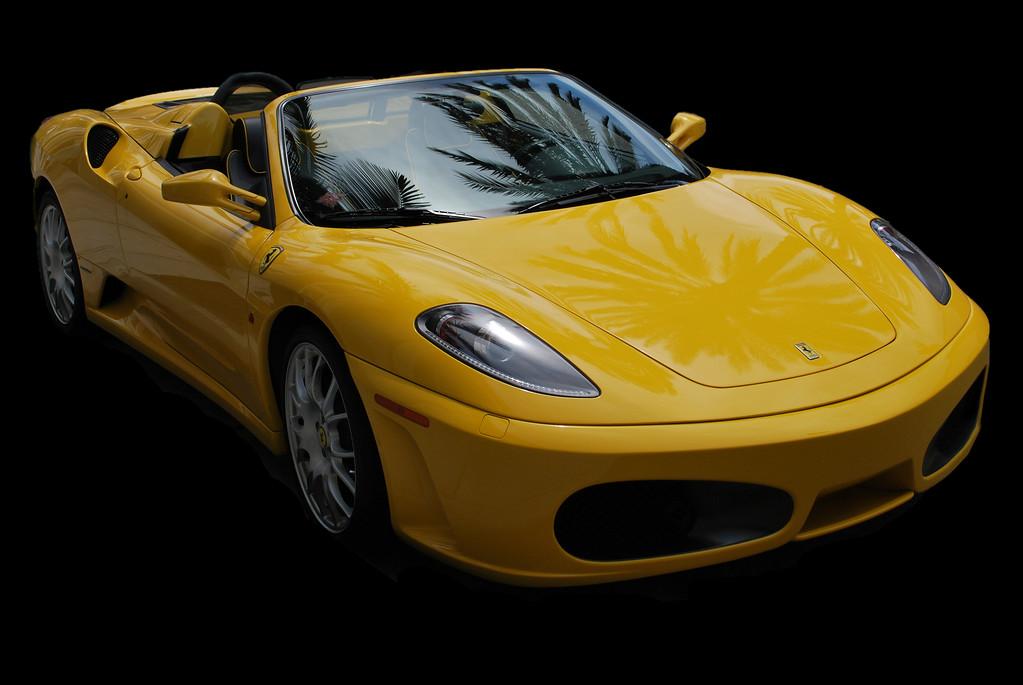 Yellow Ferrari Sports Car(