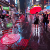A Wet & Red Times Square