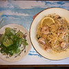 Linguini with shrimp and salad