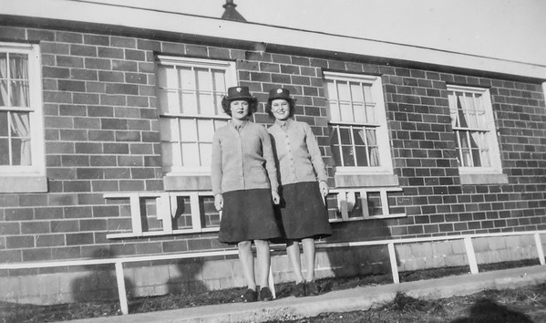 Mom left with her sister Verda at basic training in 1943 Des Moises IA