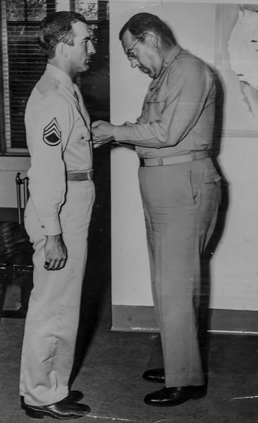 Dad gets metal  - August 1945 in Colorado Springs, CO
