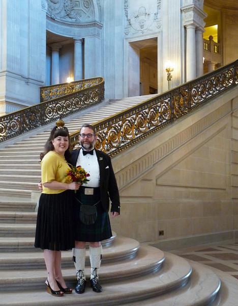 Deb & Harley on the rotunda staircase