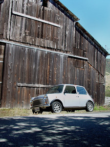 Old Barn and Mini near CA Highway 1