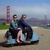 Deb, Harley and their 54 Goggo scooter