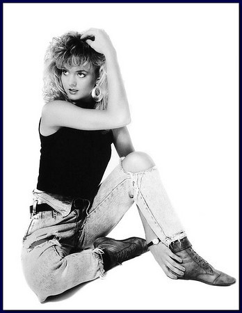 Big hair 80's model on white background, 1986