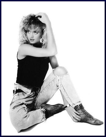 Big hair 80's model on white background, 1986