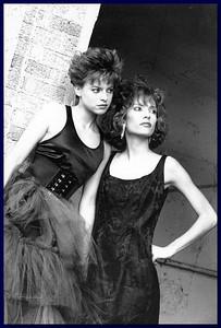 Models outside brike facade, 1986