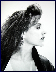 Model profile on white background, 1987
