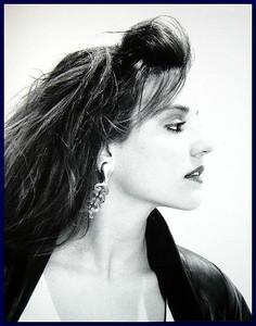 Model profile on white background, 1987