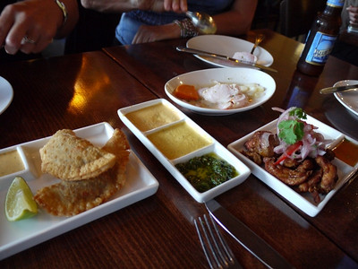 Empanadas, 3 sauces, Sea bass cerviche. and a killer crispy chicken dish  called Chicharron de Pollo.