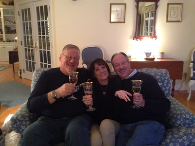 A toast with Kathy and Henry.  Good times!