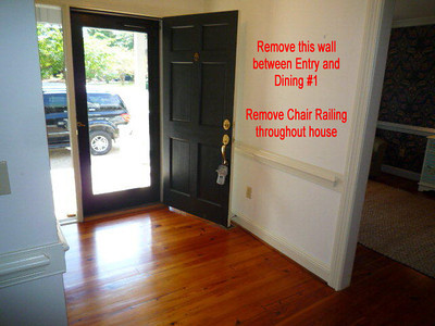 a remove entry wall to open up new living room