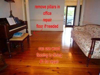 a remove pillars and repair floor using wood from Dining 1