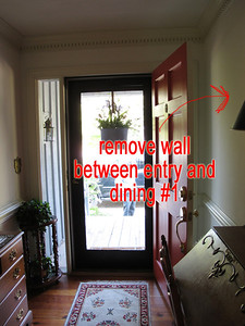 a remove wall between entry and dining 1 as seen from entry