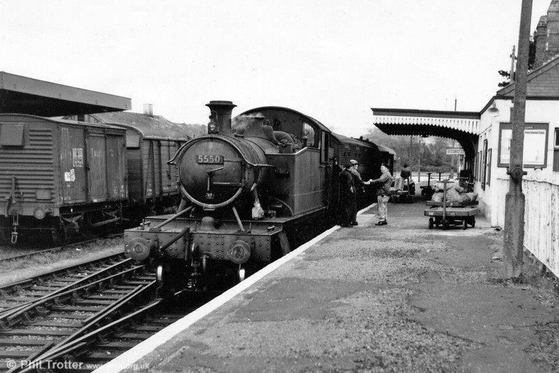 GWR 2-6-2T no. 5550 on arrival at Cardigan from Whitland. The train consists of one coach and a 'Siphon G'.