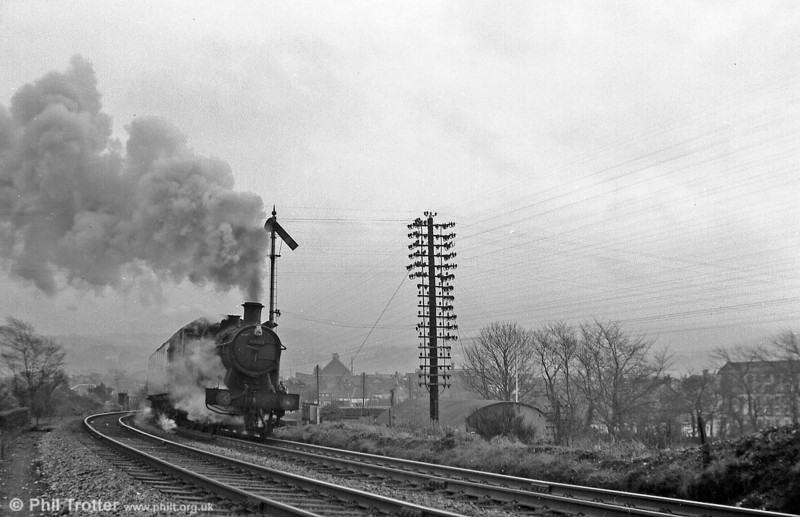 56XX 0-6-2T no. 6688 heads out of Neath towards Skewen with a local passenger train.