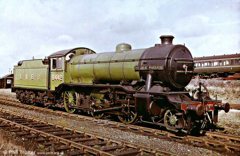Photographed during the early days of the Tyseley Railway Museum project, this of course is Darlington built 1938 class K4 2-6-0 no. 3442 'The Great Marquess'. The loco later became BR no. 61994. It was probably included in the series to illustrate the conventional design of locomotive of the 1920 to 1950 period.