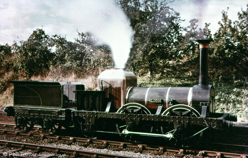 Liverpool & Manchester Railway 0-4-2 no. 57 'Lion', built in 1838 by Todd, Kitson and Laird. This shot is believed to have been taken in 1962 at Dunchurch on the erstwhile Leamington - Rugby line. The loco famously starred in 'The Titfield Thunderbolt' in 1952.