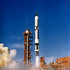 GEMINI 12 ASTRONAUTS LOVELL, JAMES AND ALDRIN, EDWIN LIFTED OFF ABOARD A TITAN LAUNCH VEHICLE FROM KENNEDY'S COMPLEX 19 AT 3:45 PM EST, NOVEMBER 11, 1966, AN HOUR AND A HALF AFTER THEIR AGENA TARGET VEHICLE WAS ORBITED BY AN ATLAS ROCKET. THIS IS THE LAST FLIGHT IN NASA'S GEMINI PROGRAM. REF: NASA HQ 66-HC-1875. (MIX FILE)
