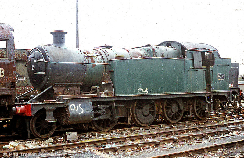 Nowadays undergoing restoration at the Gloucestershire Warwickshire Railway, GWR 2-8-0T no. 4270 appears to be in reasonable shape for a Barry inmate in this view.