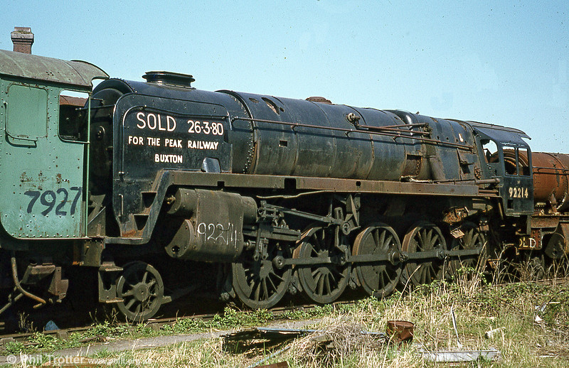Looking pretty much complete, with most of its motion is BR '9F' no. 92214. 92214 was built by British Railways at Swindon works and delivered new to Banbury shed in 1959; it was condemned on 9th August 1965. Rescued for preservation in 1980, it now runs at the East Lancs Railway.