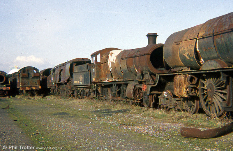 An unrebuilt Bullied Pacific, a GWR 28XX 2-8-0 and 'King' class 4-6-0 no. 6023 'King Edward II' photographed in 1973.
