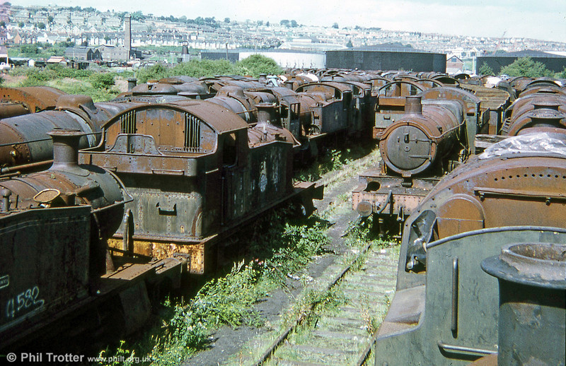A general view of Woodham's Scrapyard, Barry in 1973; many of the locomotives present at this time are now fully restored and working on Britain's heritage railways.