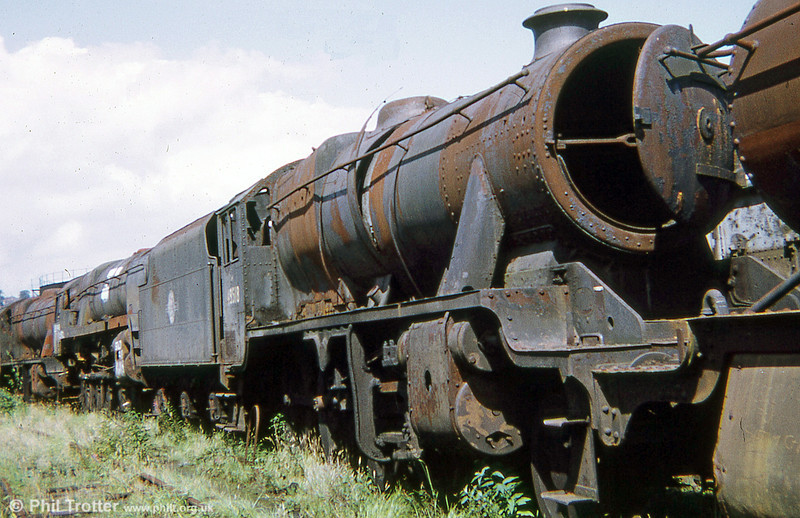 Doncaster-built LMS Stanier 8F 2-8-0 no. 48518, 1973. The loco has now donated its boiler to Didcot's project to recreate Hawksworth 'County' 4-6-0 no. 1014 'County of Glamorgan'.