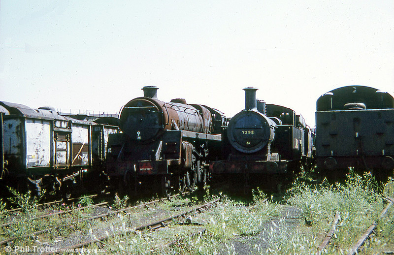 LMS 'Jinty' 0-6-0T no. 7298 is at the centre of this shot, taken in 1973. 7298 was rescued the following year and is now active at the Llangollen Railway. The 16T mineral wagons are a clue to the survival of so many locomotives; Woodhams found it more cost effective to dispose of those in preference to the more complex locos - which, in the event, the company was able to resell to preservationists!