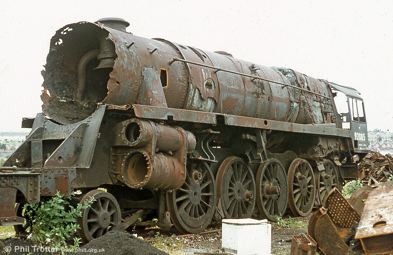 Most of the locomotives in this section have survived the cutter's torch; many of them have been restored to working order. Here's a last look at one which didn't escape; BR '9F' 2-10-0 no. 92085 which was cut up in July 1980.