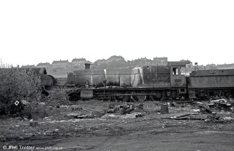 An unidentified GWR 2-8-0 at Barry, awaiting attention from its new owner. Very little has been written about the affects of asbestos fibres from locomotives in this condition blowing across the town.