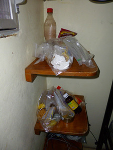THIS was where my food was stored - in SEALED Ziplock bags.  NOT ON the bed.