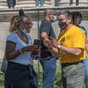 Springfield Mayor Domenic Sarno speaks to a guest following a Black Lives Matter flag raising in front of City Hall on Saturday. (Steven E. Nanton \ Special to the Republican)