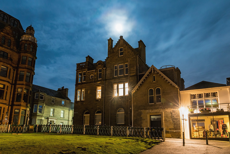 Our apartment in St Andrews is the second floor that has the lights on.
