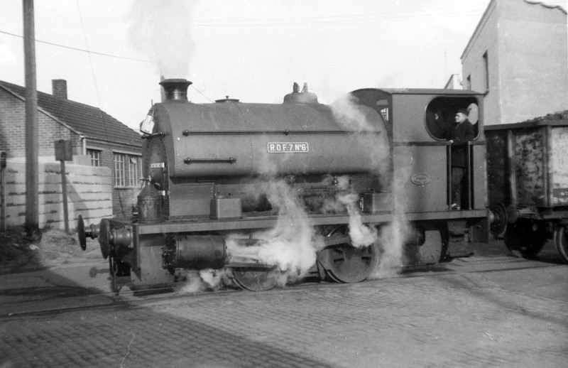 Peckett 0-4-0ST (2005/1941) 'ROF7 No.6' at the South Dock, Swansea. The loco was on hire to BR from T. W. Ward, Briton Ferry to cover for a shortage of short wheelbase locomotives suitable for dock shunting.<br /> Photo: Brian Owen