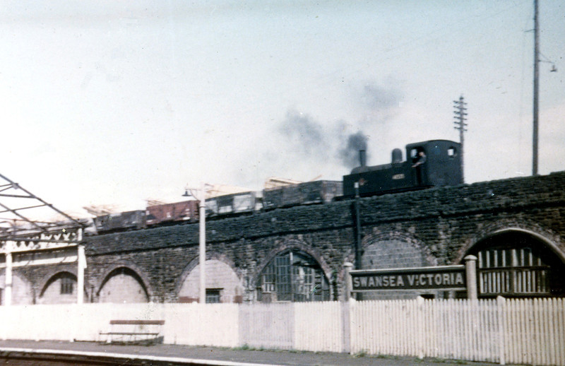 Midland Railway 0-4-0T no. 41535 on the high level lines between the South Dock and Swansea Victoria in 1964.<br /> Photo: Brian Owen