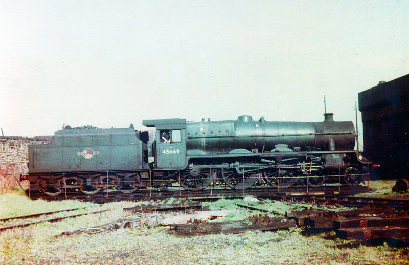 LMS 'Jubilee' class 4-6-0 no. 45660 'Rooke' on the turntable at Swansea Paxton Street.<br /> Photo: Brian Owen