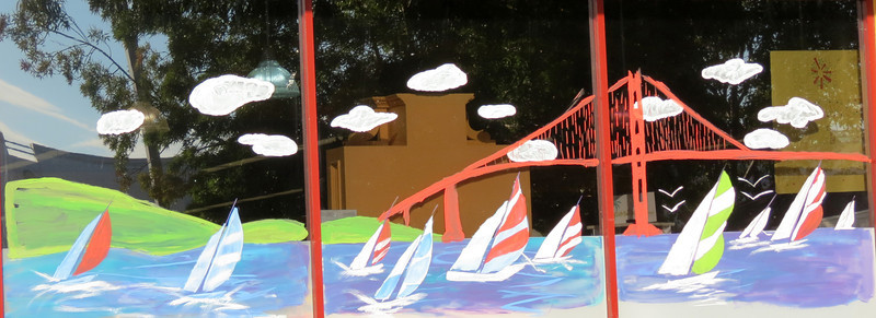 First 2 photos are of our Petaluma Market's summer window art - sailboats on San Francisco Bay