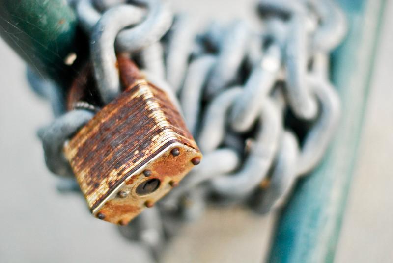 Old lock, heavy duty chain